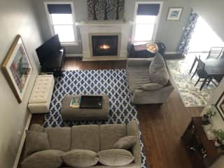 The main living room with gas fireplace (easy on/off switch)