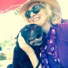 Amy and a retired service dog, Rhani