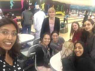 Me bowling with colleagues in Oman