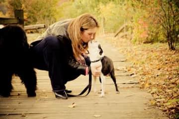 Giving my Boston Terrier, Quasi, some kisses.