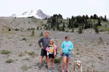One favorite trip involved 2-months of travel - including 2 house sits. Here we are on Mt. Hood with our furry companion.