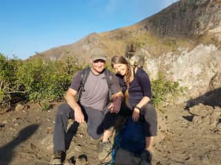 Sunrise hike in Indonesia, with a monkey on our back!