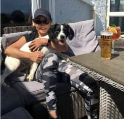 This is Tomoko with Sara who we looked after for two weeks in June 2018. She was well trained by her owner. Her favourite walk always passed this pub. Well .......it would be poor form to change a dog's habits wouldn't it?