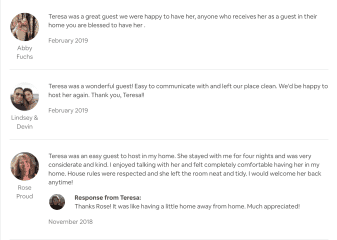 Here are a few reviews from my travels with Airbnb - a little more info about me and my time in others' homes.