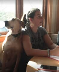 Maria and a dog we LOVE in New Hampshire! :) She always sits like that with me when I am writing my next book.