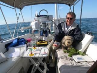 Bob and our precious Arthur Boy cruising through the Great Lakes and into Canada.