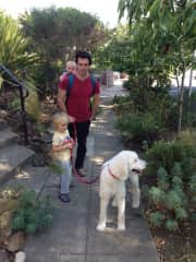 My partner Romain, our two sons and Bella