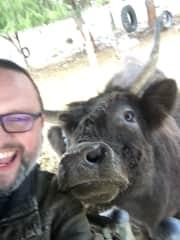 Husband at petting zoo!