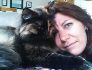 Lisa and Chewie, her adopted fur baby.