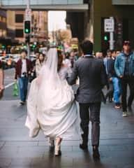 Strolling through Sydney on our wedding day