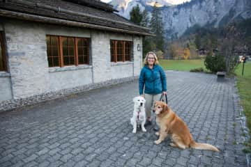 Barbara with Pepper and Dickens in Switzerland