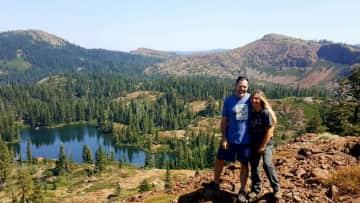 Mark & Reenie in camping in northern California