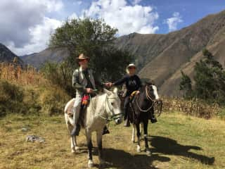 In between sits, we explore.  Here we are in Ollantaytambo on a wonderful horseback ride.
