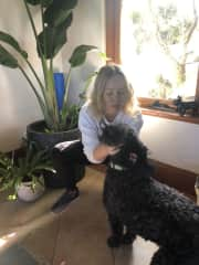 Playing with Ella the labradoodle