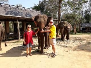 Debi and Bob visiting an elephant sanctuary in Laos