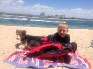 Rusty and my eldest grandson a few years ago. We love the beach.