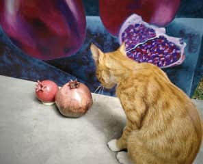 Sebastian the cat with my painting