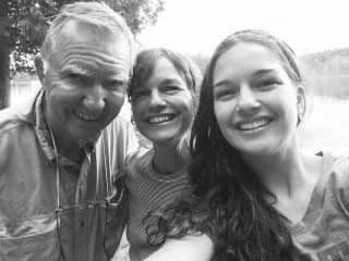 Myself, my mom and grandpa camping, summer 2019.