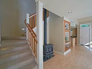 Two bedrooms and a full  bathroom are located on the second floor. There are about 18 stairs, and also the laundry areas upstairs in a large bathroom.