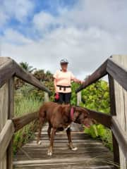 Pat and Canaima on a walk in Florida