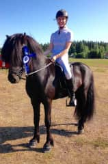 My young stallion Draugur at his second competition. We did well that day and he got 10/10 about behavior at competition arena
