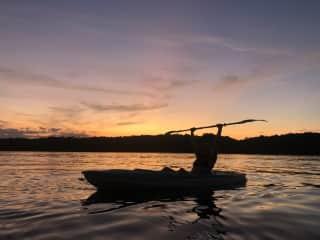 Beautiful sunset kayaking on Lake Lanier