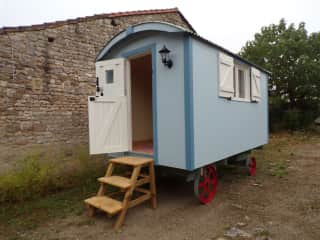 Marco has entirely built this shepherd's hut from scratch.