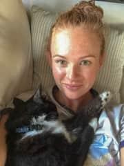 Jessy with her cat, Maisy.