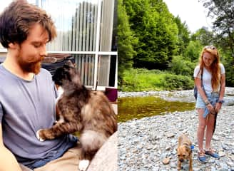Left: Sam Malone was displaced after the Christchurch earthquake and quickly became part of the family. Right: Leela loves long walks by the river - and so do we!
