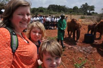 Marca and the boys at David Sheldrick Wildlife Trust