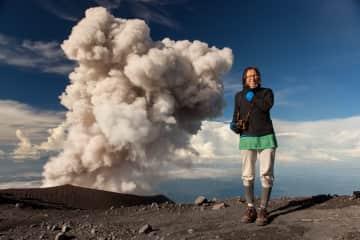 Enjoying Semeru volcano eruption in Java, Indonesia