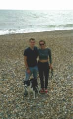 Matt and I walking Meggy (Border Collie) on the beach