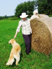 Bev with Stone and Bailey on the Farm