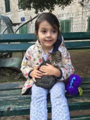 My daughter Renata and a baby cat in Kotor!