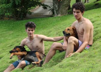 Dylan and Ryan with two of our dogs Croquette and Idog