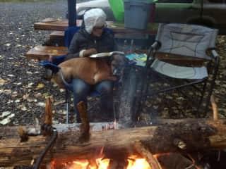Raegan and the late Stella camping.