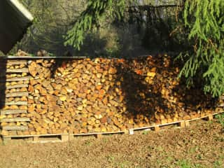 We like to make woodpiles so the wood can dry to be ready for our logburners