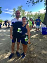 Andy and Rachel after completing a triathlon