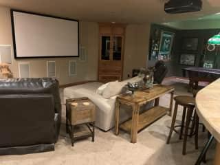 Basement and big screen tv and pool table