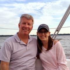 With my girlfriend Meredith sailing on Charleston Harbor.