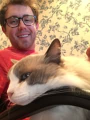 Andrew hanging with his main dude Willow (18-year old cat he grew up with)