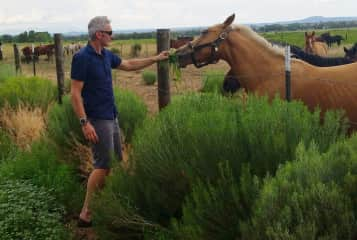 Shaine makes animal friends everywhere he goes.