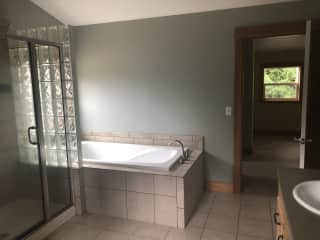 huge master bath with soaking tub and separate shower