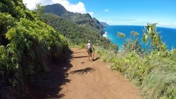 Here I am hiking one of my favourite locations in kauai, Hi (Kalalau trail).