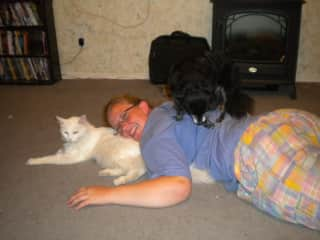 daughter Kelli with our dog and cat