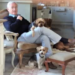 Richard surrounded by our pets