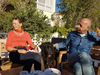 Nadine, Buddy, the foster dog, Mark