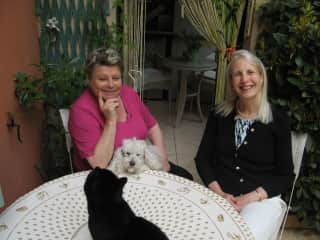 Carol with Sonja, Sushi, and Mitsi in Frejus, France. C walked Sushi regularly for several months for Sonja, who  -- along with Sushi -- were severly arthritic.