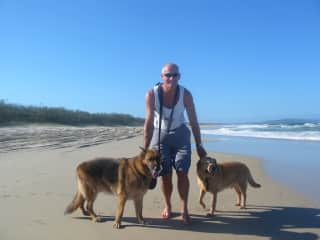 John with our two dogs Jack and Bernie at our local beach