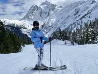 Skiing at Mt. Baker, WA (2021), after a 6 year hiatus.